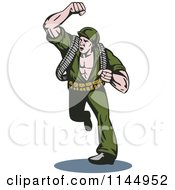 Clipart Of An Army Soldier Running And Punching Royalty Free Vector Illustration
