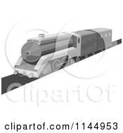 Clipart Of A Retro Grayscale Train Royalty Free Vector Illustration