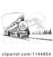 Clipart Of A Retro Steam Engine Train Near Mountains Royalty Free Vector Illustration by patrimonio