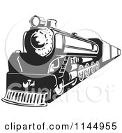 Clipart Of A Retro Black And White Train 3 Royalty Free Vector Illustration