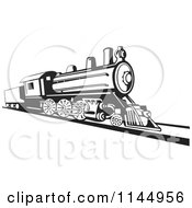 Clipart Of A Retro Black And White Train 2 Royalty Free Vector Illustration