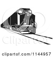 Clipart Of A Retro Black And White Diesel Train Royalty Free Vector Illustration