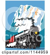 Clipart Of A Retro Train In The Mountains 2 Royalty Free Vector Illustration