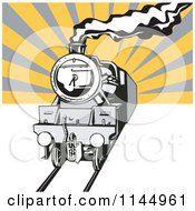 Clipart Of A Retro Steam Engine Train Over Rays Royalty Free Vector Illustration