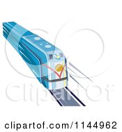 Clipart Of A Retro Blue Train 1 Royalty Free Vector Illustration by patrimonio