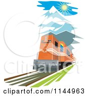 Clipart Of A Retro Train In The Mountains Royalty Free Vector Illustration