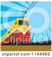 Clipart Of A Retro Electric Train Over Blue Royalty Free Vector Illustration