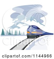 Clipart Of A Retro Blue Train Near Mountains Royalty Free Vector Illustration