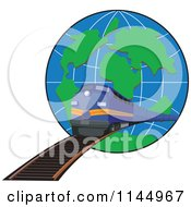 Clipart Of A Retro Blue Train Emerging From A Globe Royalty Free Vector Illustration by patrimonio