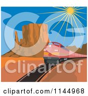 Clipart Of A Retro Red Train In A Desert Royalty Free Vector Illustration