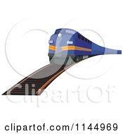Clipart Of A Retro Blue Train 2 Royalty Free Vector Illustration