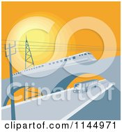 Clipart Of A Train On A Viaduct Over A Bus Royalty Free Vector Illustration