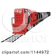 Clipart Of A Retro Red Diesel Train Royalty Free Vector Illustration