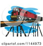 Clipart Of A Retro Train On A Bridge Royalty Free Vector Illustration