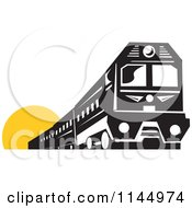 Clipart Of A Retro Black And White Train Over A Yellow Circle Royalty Free Vector Illustration
