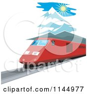 Clipart Of A Retro Train In The Mountains 3 Royalty Free Vector Illustration