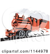 Clipart Of A Retro Red Steam Engine Train Royalty Free Vector Illustration by patrimonio