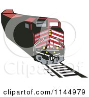 Clipart Of A Retro Red Train 1 Royalty Free Vector Illustration