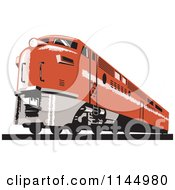 Clipart Of A Retro Orange Diesel Train Royalty Free Vector Illustration