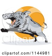 Clipart Of A Retro Gray Boar Leaping Royalty Free Vector Illustration