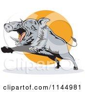 Retro Gray Boar Leaping