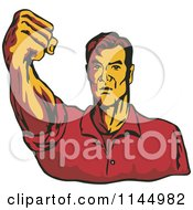 Clipart Of A Retro Man Holding Up A Fist Royalty Free Vector Illustration