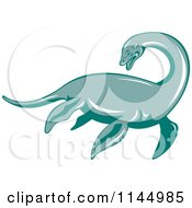 Clipart Of A Retro Loch Ness Monster Pliosaur Dinosaur Royalty Free Vector Illustration by patrimonio