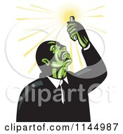 Clipart Of A Retro Mad Scientist Looking Up At A Test Tube Royalty Free Vector Illustration