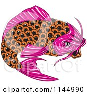 Clipart Of A Retro Pink And Orange Koi Fish Royalty Free Vector Illustration by patrimonio