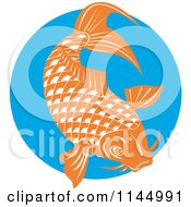 Clipart Of A Retro Orange Koi Fish Over A Blue Circle Royalty Free Vector Illustration