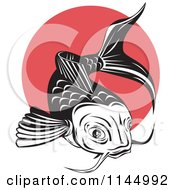 Clipart Of A Retro Black And White Koi Fish Over A Red Circle Royalty Free Vector Illustration