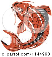 Clipart Of A Retro Orange Koi Fish Royalty Free Vector Illustration by patrimonio