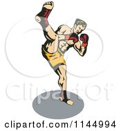 Clipart Of A Boxer Fighter Kicking Royalty Free Vector Illustration by patrimonio