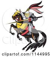Retro Knight With A Lance On A Jousting Horse