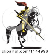 Clipart Of A Retro Knight With A Lance On A Jousting Horse 2 Royalty Free Vector Illustration by patrimonio