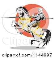 Retro Knight With A Lance On A Rearing Jousting Horse