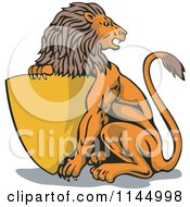 Clipart Of A Retro Lion With A Gold Shield Royalty Free Vector Illustration by patrimonio