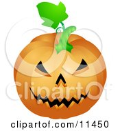 Evil Carved Jackolantern Halloween Pumpkin Clipart Illustration
