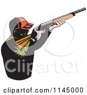 Clipart Of A Retro Male Hunter Aiming A Rifle Royalty Free Vector Illustration
