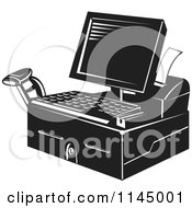 Clipart Of A Retro Black And White Retail Merchant Cash Register And Checkout System Royalty Free Vector Illustration