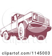Clipart Of A Retro Red Pickup Truck From The Low Front Royalty Free Vector Illustration