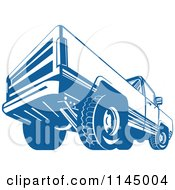 Clipart Of A Retro Blue Pickup Truck From The Back Royalty Free Vector Illustration by patrimonio