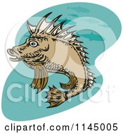 Clipart Of A Pig Fish Royalty Free Vector Illustration