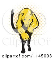 Clipart Of A Retro Leaping Puma Over Halftone Royalty Free Vector Illustration by patrimonio