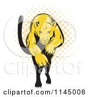 Retro Leaping Puma Over Halftone