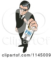 Clipart Of A Retro Secret Agent Holding Up An FBI Badge Royalty Free Vector Illustration