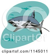 Clipart Of A Shark Swimming With Fish 1 Royalty Free Vector Illustration by patrimonio