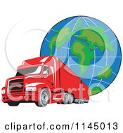 Clipart Of A Retro Red Big Rig Truck And Globe 1 Royalty Free Vector Illustration by patrimonio