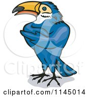 Clipart Of A Blue Toucan With Folded Wings Royalty Free Vector Illustration