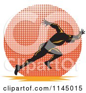 Clipart Of A Retro Runner Sprinting Over A Halftone Circle Royalty Free Vector Illustration